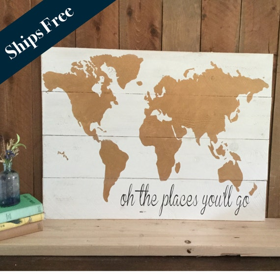 Travel Themed Decor Wood World Map Gold Nursery by Girlinair