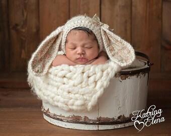 Newborn Bunny Bonnet/ Crochet Bunny Hat/ Baby Girl Prop/ Easter Baby Hat/ Bunny Hat/ Easter Bonnet/ Alpaca Bonnet/Woodland Theme Nursery