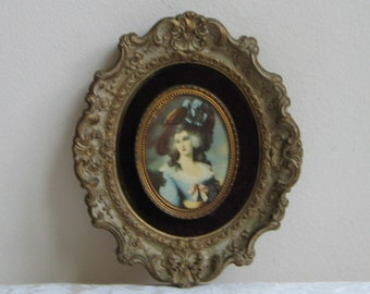 Vintage Cameo Creations Portrait Wall Art Print In Ornate Plaster Frame With Barbola Marsala Velvet, Lady Sheffield by Thomas Gainsborough
