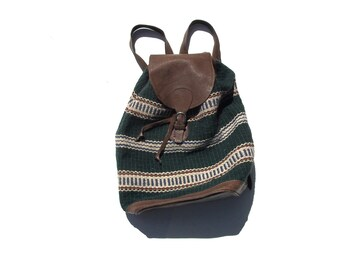leather backpack with woven outer shell IKAT 80s 1980s vintage adjustable southwestern hippie boho bohemian travel hipster festival bag big