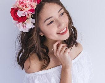 romantic pink spring racing flower crown fascinator // statement floral headpiece headband, races melbourne cup, carnival, wedding, flowers