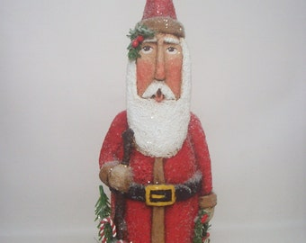 Santa Folk Art Primitive Paper Mache