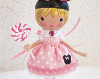 Available and Ready to Ship Minnie Mouse Cake Topper~ Pink & White Polka Dots~ Birthday Decoration~ Lollipop~Personalized~Mouse Ears~Garden