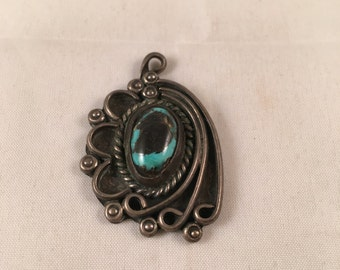 Vintage Turquoise & Silver Pendant