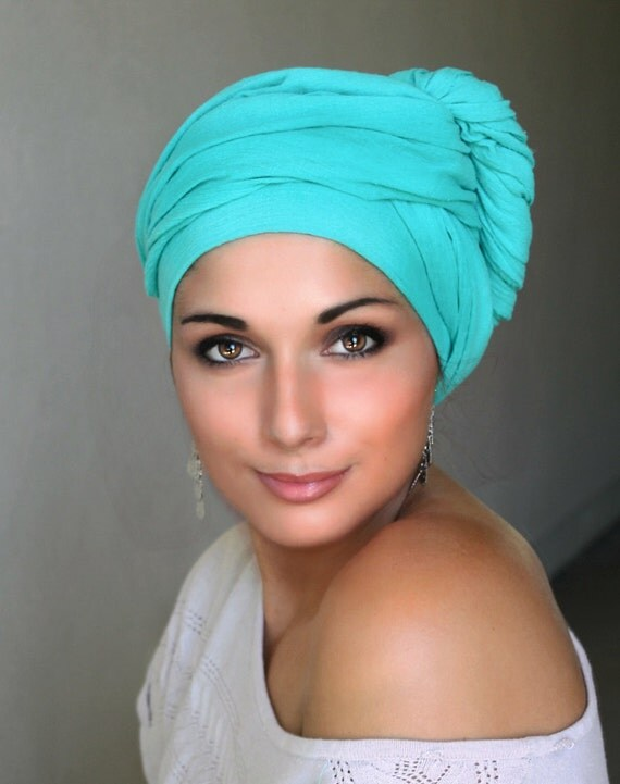 jade cotton turban wrap chemo hat wrap by turbandiva