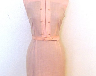 vintage pink belted dress - 1940s-50s Kenny Classics pink belted dress