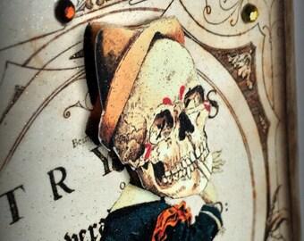 Halloween Clown Skeleton Wood Sign Ornament, Goth, Steampunk, Victorian
