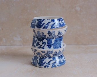 StayGoldMaryRose - Darling vintage royal blue willow pattern tea cup stacking bracelet.