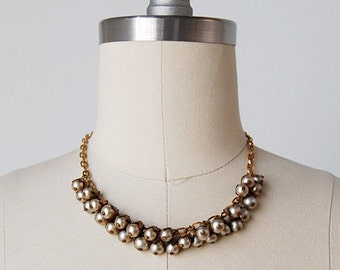 vintage 30s necklace / beaded necklace / 1930s brass necklace / Snowberry necklace