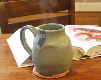Large Coffee or Tea Mug in Agate Green Matte Glaze