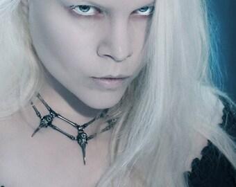 Bird skull spiky necklace  //   Gunmetal color  //  Handmade steampunk jewelry  //  Statement necklace