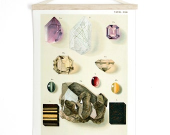 Pull Down Chart - Minerals Gems amethyst Geology Reproduction Canvas Print. Vintage German Educational Diagram Scientific Crystals - CP200CV