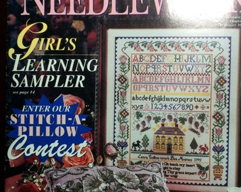 Pattern Better Homes and Gardens Cross Stitch & Needlework February 1997 Wedding Pansy Samplers Floral Heart Noah's Ark Drawn Thread