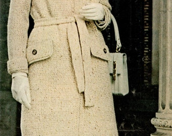 vintage knitting pattern ladies tailored tweed coat jacket womens sport dk yarn pdf instant download 1960