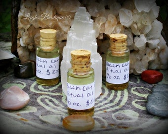 Black Cat Ritual Oil, Essential Anointing Hoodoo Oil 1/2 oz.