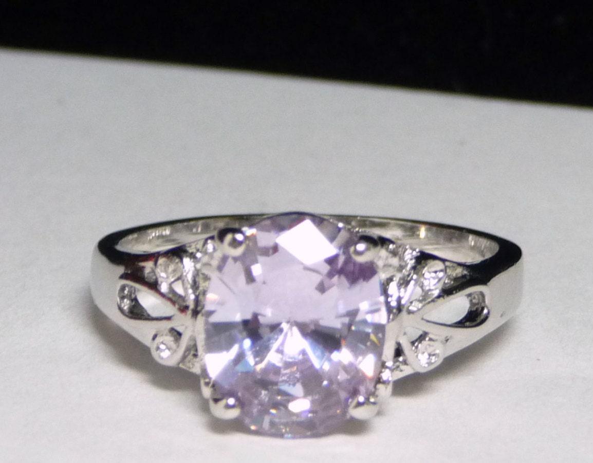 pale lavender sterling silver ring designer signed rsc 925