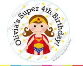 Wonder Woman Stickers, SuperHero Party Personalized Inspired PRINTED round Stickers, tags, Wonderwoman Labels or Envelope Seals, A1270