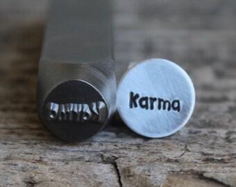Karma Word - Metal Stamp 8mm-Steel Stamp-Will Work on Hard Metals-Metal Design Stamps by Metal Supply Chick-DJU94