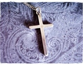 Large Silver Cross Necklace - Sterling Silver Cross Charm on a Delicate Sterling Silver Cable Chain or Charm Only