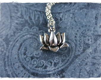 Silver Lotus Flower Necklace - Antique Pewter Lotus Flower Charm on a Delicate Silver Plated Cable Chain or Charm Only