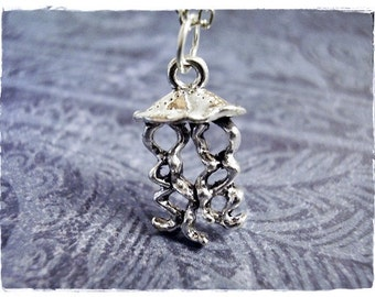 Silver Jellyfish Necklace - Silver Pewter Jellyfish Charm on a Delicate Silver Plated Cable Chain or Charm Only