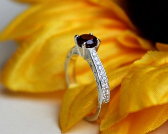 Red Garnet Engagement Ring Garnet Solitaire Ring in 14k White Gold with round 5mm and Diamond band with vintage scroll design