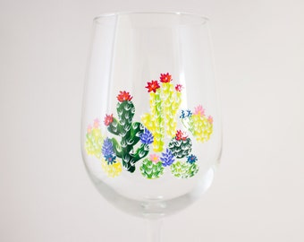 Floral Cacti Painting - Hand Painted Wine Glass - Bright Green -  But First Cacti - Unique Barware - Apartment Therapy - Cacti Home Decor