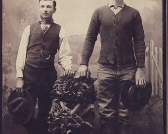 Handsome Young COWBOYS Holding Their HATS In HANDS Cabinet Photo circa 1890s