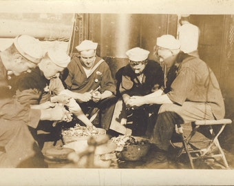 WWI Navy Sailors PEELING SPUDS On The Ship Deck In This World War I Photo Circa 1918