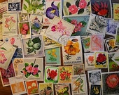 45 World Vintage FLOWER Postage Stamps for crafting collage altered art jourals scrapbooks philately stamp collecting aceo set 12b