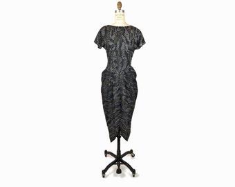 Vintage 80s Black Rhinestone Party Dress / Little Black Dress - women's small/medium