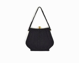 Vintage 50s Black Corde Evening Bag / Evening Clutch / Black Cording Handbag
