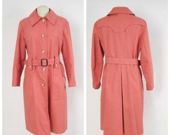 60s 70s Vintage Coral London Fog Trench Coat Woman's Pink Rain Coat Large Belted