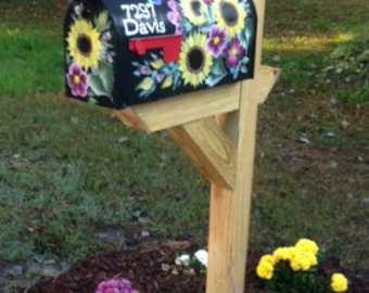 Custom painted mailbox, hand painted mailbox, sunflower mailbox, butterfly mailbox, fall mailbox, one of a kind mailbox