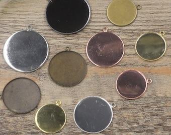50 Pendant Trays 20mm Round- Brass Bronze/ Silver/ Gold/ Rose Gold/ White Gold/ Gun-Metal Plated Round Bezel Setting W/ ring- Z5736b