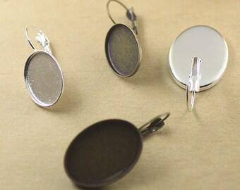 40 Earrings- Brass Antique Bronzed Lever-Back Ear Wire W/ 13x18mm/ 18x25mm Oval Bezel Setting Wholesale- Z7512a