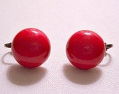 Red Cherry Button Clip On Earrings Silver Tone Vintage Small Round Domed Smooth Discs