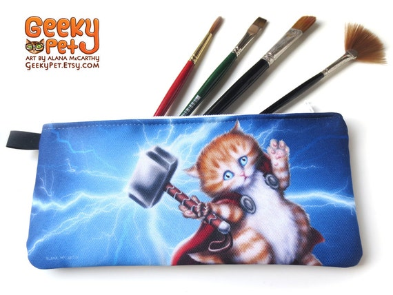 "Thor Kitten zippered pencil case 9"" x 4"""