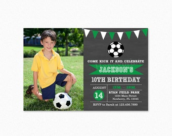 Soccer Birthday Party Invitation, Futbol Birthday Party Invitation, Green,  Photo, Personalized, Printable or Printed