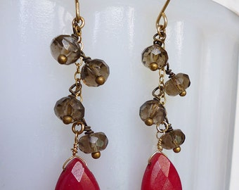 Smoky Rubies // Gemstone Waterfall Drop Earrings on Gold Fill with Ruby Jade and Smoky Quartz, Bohemian Boho Bohochic Bridal Holiday Natural