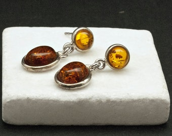 Amber Earrings, Natural Baltic Honey Amber and Sterling Silver Dangle Earrings, Simple Everyday Gemstone Earrings for Her, Amber Jewelry