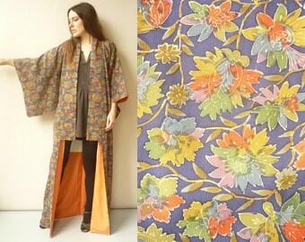 Vintage Japanese Floral Print Full Length Kimono Robe Duster Jacket