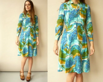 1970's Vintage Hippie Psychedelic Abstract Pattern Tea Dress Size XS