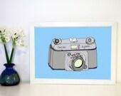 Camera Art Print, Dacora Dignette Vintage Camera Illustration A4