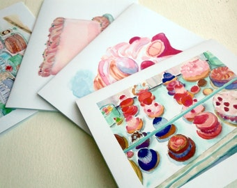 Cakes and Pastries Greeting Cards - Bakery Sweets Watercolor Art Blank Notecards - Food Illustration Cards - Set of 4 Cards