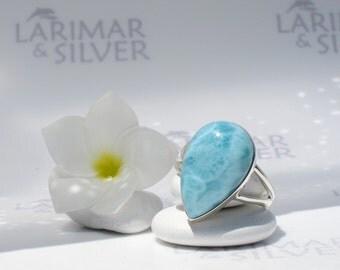Larimarandsilver ring size 12, Turquoise Ocean - underwater blue Larimar pear, turquoise larimar, Atlantis stone ring, handmade Larimar ring