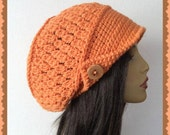 Orange Slouch Crochet Ladies Hat with wood button and brim hat