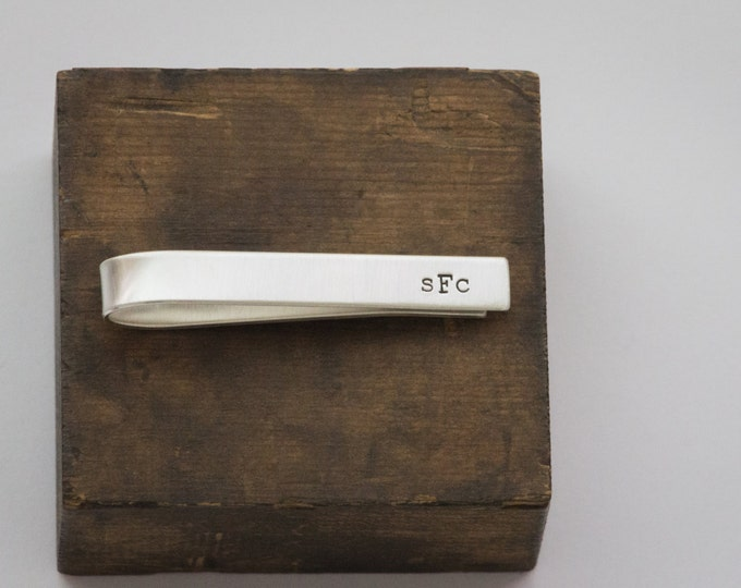 Tie Bar - Sterling Silver Hand Stamped Gift for Dad - For Him - Personalized Monogram Initials by Betsy Farmer Designs