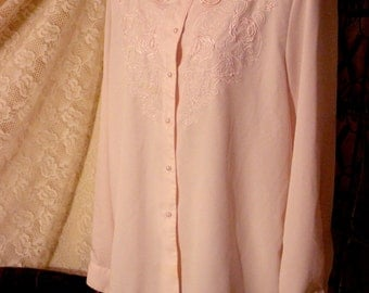 Sz M /  L Pink Embroidered Top Blouse Secretary Style