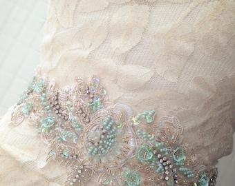 Blush/Aqua/Gold Beaded Lace Appliqué